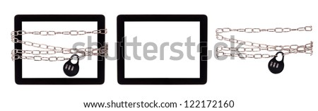 computer security concept set with clipping path isolated - stock photo
