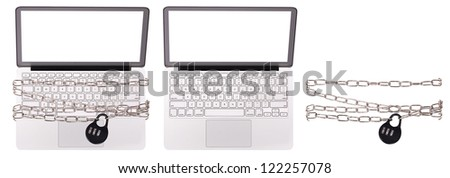 computer security concept with clipping path isolated - stock photo