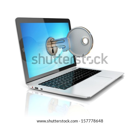 computer security 3d concept - laptop and key - stock photo