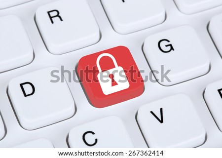 Computer security on the internet lock icon data protection - stock photo