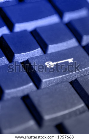 Computer security & privacy symbol on keyboard close-up