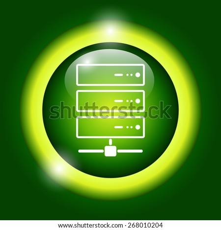 Computer Server icon, flat design.  - stock photo