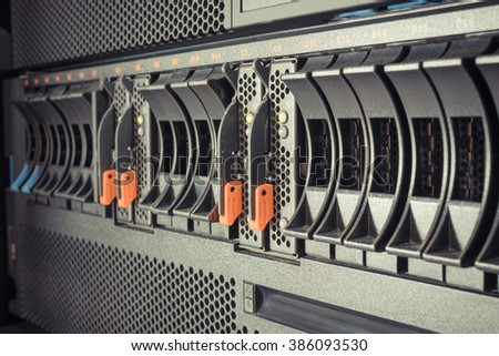 Computer Server mainframe and raid storage in datacenter , process in vintage style - stock photo