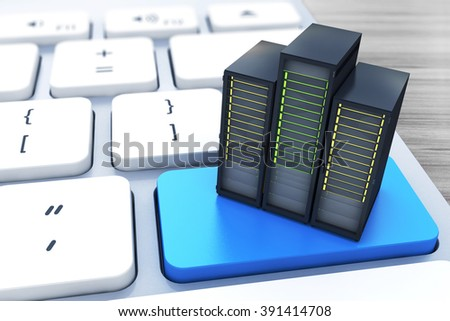 Computer server on the blue button keyboard in the design of information related to computer technology - stock photo