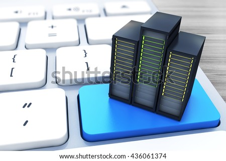 Computer server on the blue button keyboard in the design of information related to computer technology. 3d illustration - stock photo