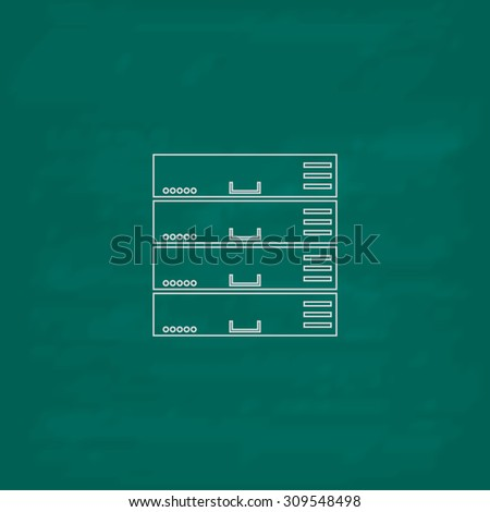 Computer Server. Outline icon. Imitation draw with white chalk on green chalkboard. Flat Pictogram and School board background. Illustration symbol - stock photo