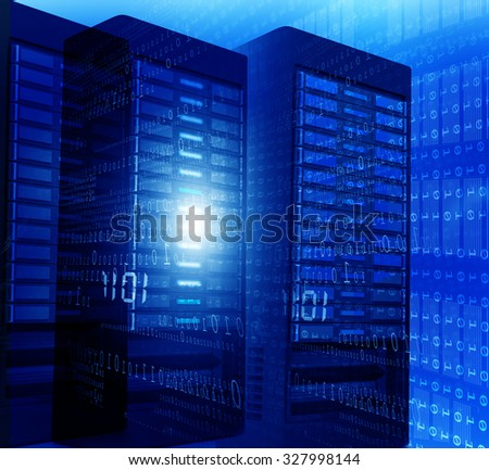 Computer server room with binary data - stock photo