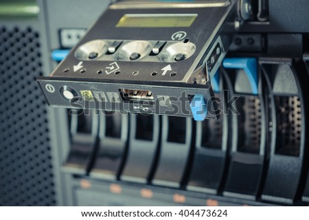 Computer Server with panel and raid storage in datacenter , process in vintage style - stock photo