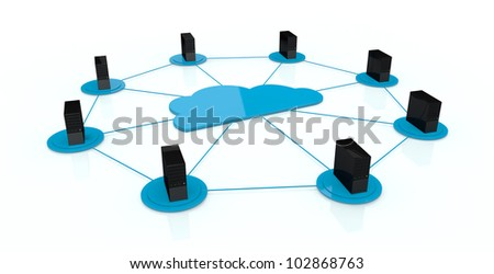 computer servers connected each other and with a big cloud on center; concept of cloud computing (3d render)