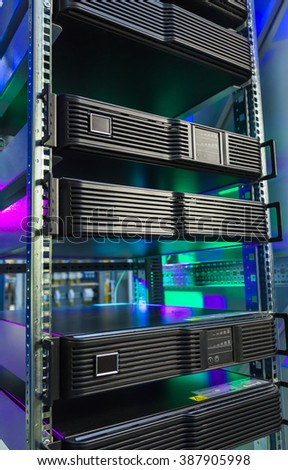 Computer servers in data center. Control modules heat power. - stock photo