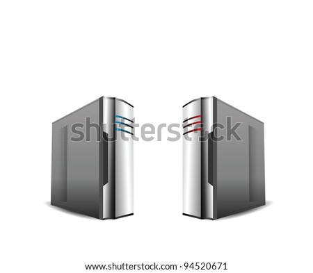 Computer Servers Isolated on White - stock photo