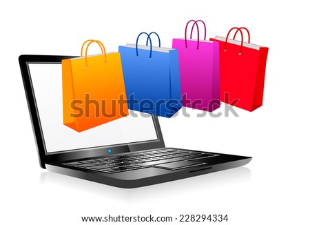 Computer shopping on the web - Raster Version - stock photo