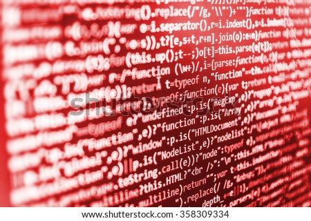 Computer source code programmer script developer. Modern technology background. Web software. Shallow depth of field, selective focus effect. All code and text written and created entirely by myself.