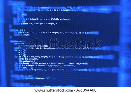 Computer source code programmer script developer. Modern technology background. Web software. Shallow depth of field, selective focus effect. - stock photo