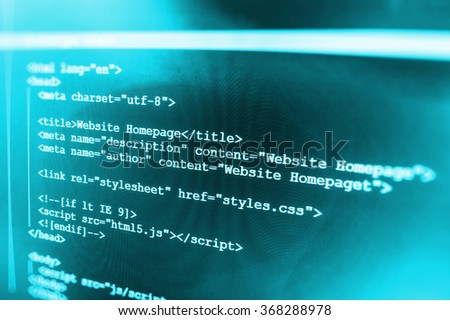 Computer source code programmer script developer. Modern technology background. Web software. Shallow depth of field, selective focus effect. All code and text written and created entirely by myself. - stock photo