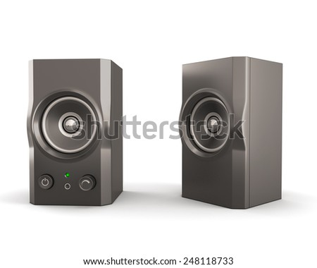 Computer speakers isolated on white background. 3d render image