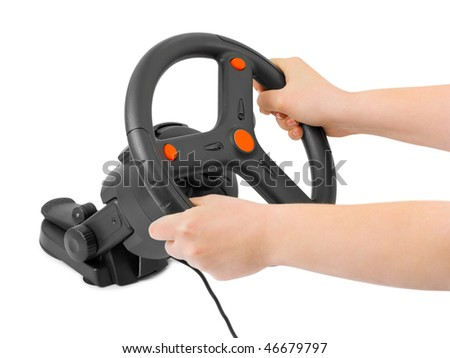 Computer steering wheel and hands isolated on white background - stock photo