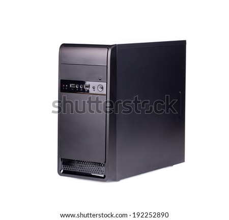 Computer system unit. Isolated on a white background. - stock photo