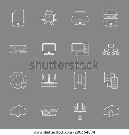 Computer Systems and Networks thin lines icons set graphic illustration  - stock photo