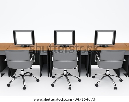 computer table with computer screens and working chairs on white background