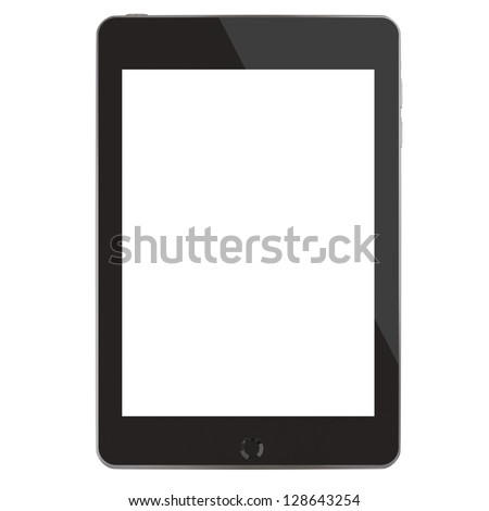 Computer tablet (3D rendering with blank screen) - stock photo