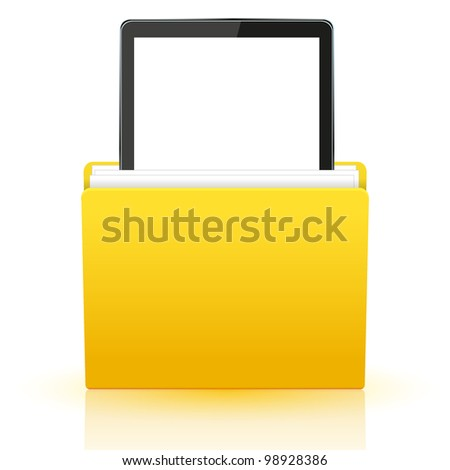 computer tablet in yellow folder.