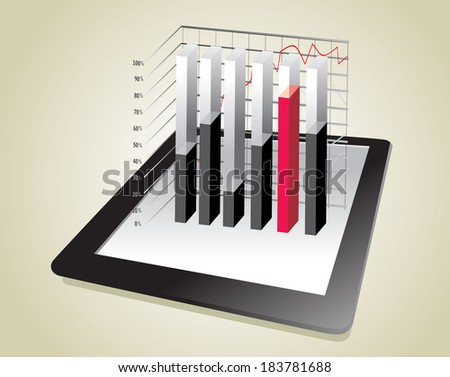 computer tablet showing a spreadsheet with some 3d charts over it - stock photo