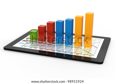 Computer tablet with a bar graph - stock photo