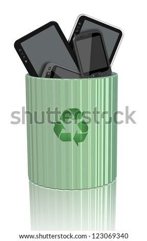Computer tablets and mobile phones inside a recycling bin / E-waste - stock photo