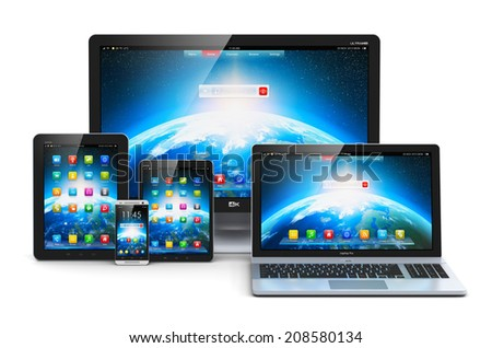 Computer technology, mobility and communication business concept: laptop, notebook or netbook PC, mini tablet computer, touchscreen smartphone and desktop monitor display screen TV isolated on white - stock photo