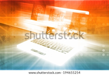 Computer Technology with Laptop and Digital Art - stock photo