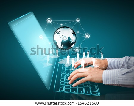 Computer technology with social network structure - stock photo