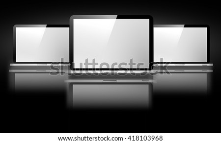 Computer, television, laptop illustration.