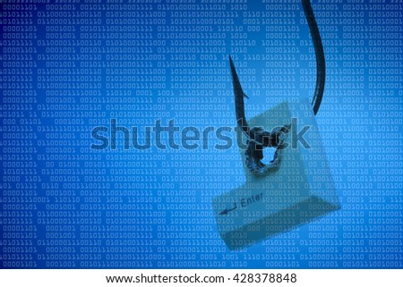 Computer threat. Vulnerability in computer system. Computer security breach. Hacking. Computer enter button in a fish hook representing computer security breach                                - stock photo