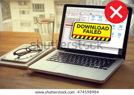 computer Transfer  Download Failed Data Stop Loss Transfer Network Download Computing Computer  Laptop with screen on table Silhouette and filter sun