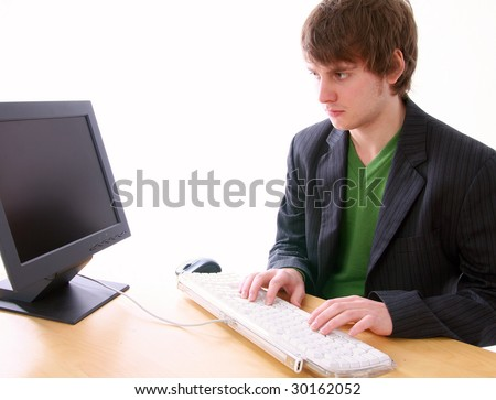 computer trouble, young adult by pc screen. student or businessman with problem