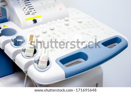 Computer ultrasound with x-ray in modern medicine and medical diagnostics tools - stock photo