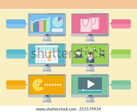 Computer usage to communicate using a wide range of social media email, social network, instant messaging, news photos videos music shopping, web surfing, games, finances and more in flat design style - stock photo