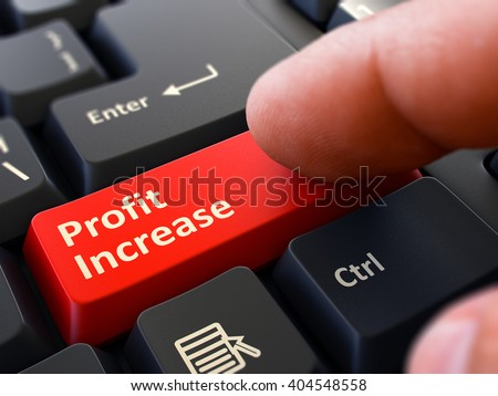 Computer User Presses Red Button Profit Increase on Black Keyboard. Closeup View. Blurred Background. 3D Render. - stock photo