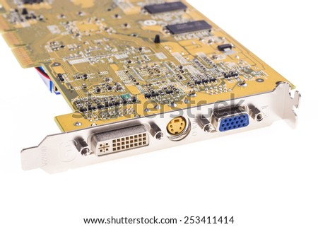 Computer video chip on white - stock photo