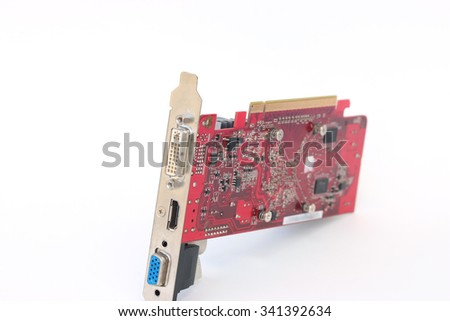 Computer videocard, isolated on the white background - stock photo