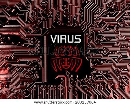 computer virus sign on circuit board - stock photo