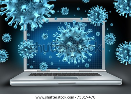 Computer virus symbol represented by a laptop with blue cyber attacking bacteria hacking into the server network. - stock photo