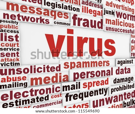 Computer virus warning message design. Malicious software poster concept - stock photo