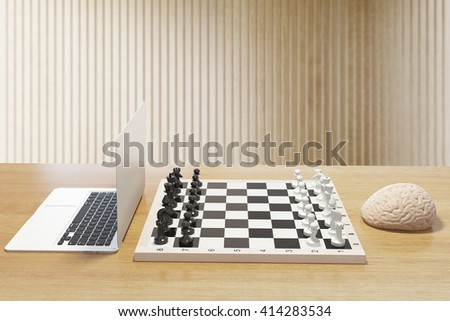 Computer vs human brain concept with two of the previously mentioned playing chess on wooden desktop. 3D Rendering - stock photo