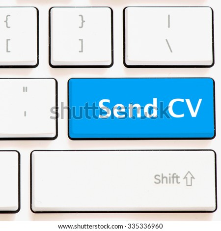 Computer white keyboard with send CV - stock photo