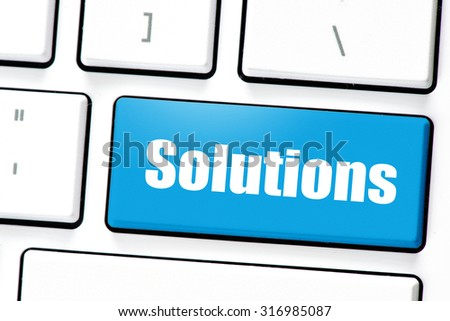 Computer white keyboard with solutions.