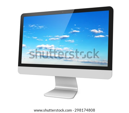 Computer wide monitor with a sky wallpaper on screen. Isolated on a white. 3d image - stock photo