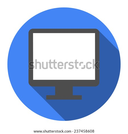 Computer widescreen monitor sign icon. White flat icon with long shadow.  - stock photo