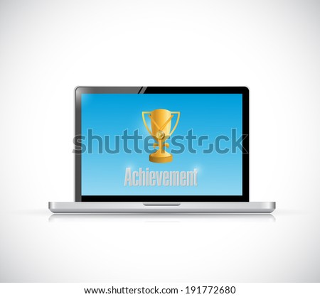 computer with an achievement message illustration design over a white background - stock photo